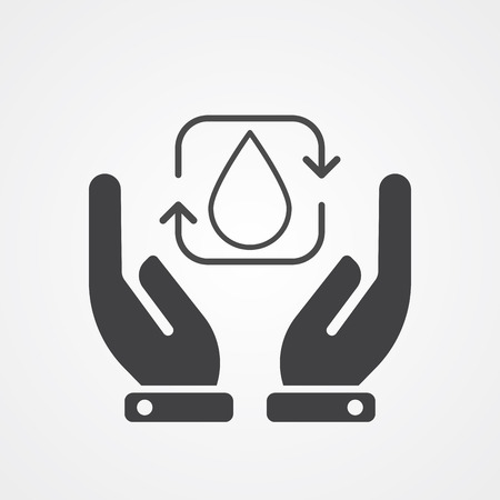 Save water icon vector, filled flat sign, solid pictogram isolated on white. Symbol, logo illustration.