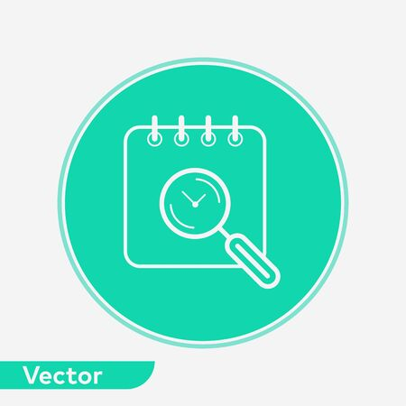 Search calendar icon vector, filled flat sign, solid pictogram isolated on white. Symbol, logo illustration.