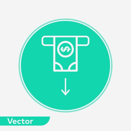 Cash withdrawal icon vector, filled flat sign, solid pictogram isolated on white. Symbol, logo illustration.