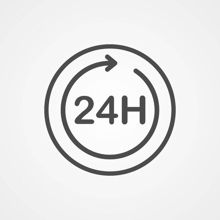 24 hours icon vector, filled flat sign, solid pictogram isolated on white. Symbol, logo illustration. Stock Illustratie