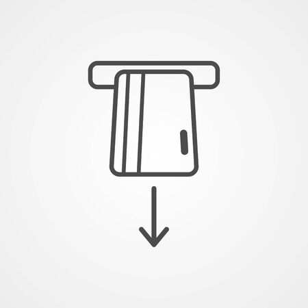 Card withdrawal icon vector, filled flat sign, solid pictogram isolated on white. Symbol, logo illustration. Иллюстрация