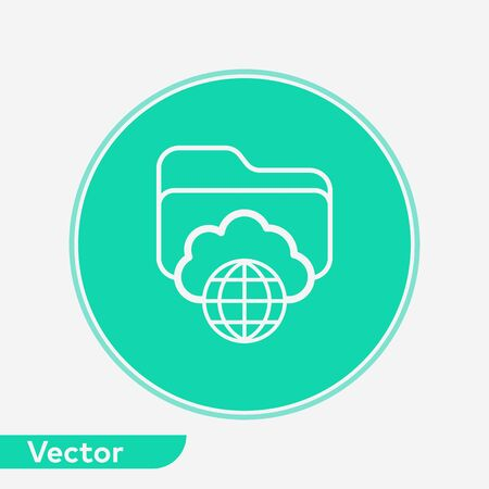 Cloud folder icon vector, filled flat sign, solid pictogram isolated on white. Symbol, logo illustration.