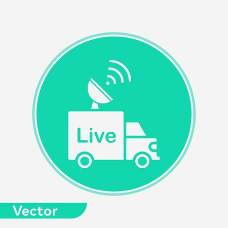News van icon vector, filled flat sign, solid pictogram isolated on white. Symbol, logo illustration. 写真素材 - 129436352