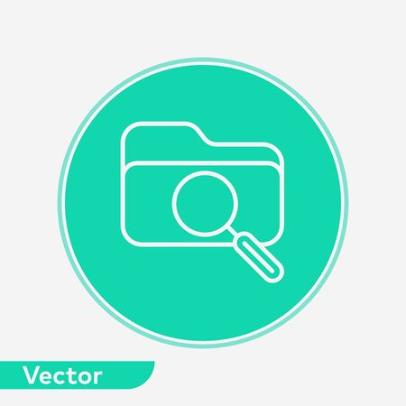 Search folder icon vector, filled flat sign, solid pictogram isolated on white. Symbol, logo illustration. Иллюстрация