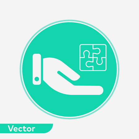 Puzzle icon, filled flat sign, solid pictogram isolated on white. Illustration
