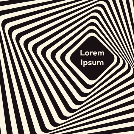 Vector optical art illusion of striped geometric black and white abstract surface flowing like a hypnotic worm-hole tunnel. Optical illusion style design