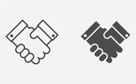 Handshake icon vector, filled flat sign, solid pictogram isolated on white. Symbol, logo illustration.