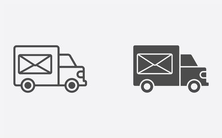 Mail truck icon vector, filled flat sign, solid pictogram isolated on white. Symbol, logo illustration. Stock Vector - 129593077