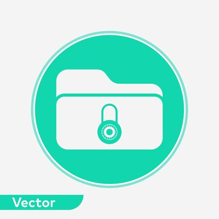 Locked folder icon vector, filled flat sign, solid pictogram isolated on white. Symbol, logo illustration.