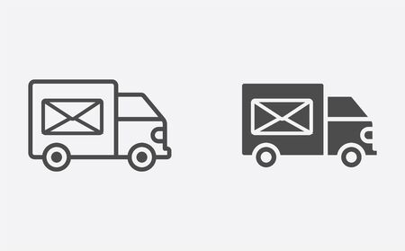 Mail truck icon vector, filled flat sign, solid pictogram isolated on white. Symbol, logo illustration. Stock Vector - 129593344