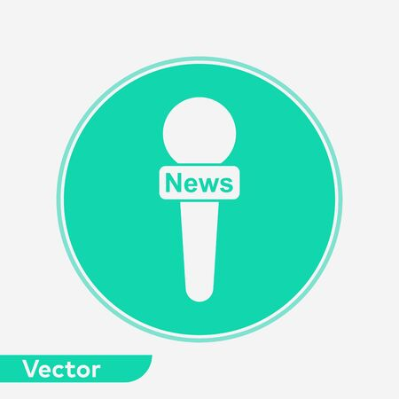 News microphone icon vector, filled flat sign, solid pictogram isolated on white. Symbol, logo illustration.