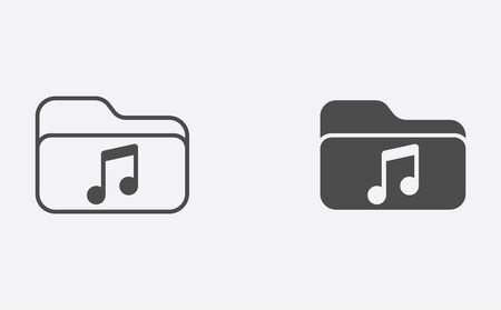 Music folder icon vector, filled flat sign, solid pictogram isolated on white. Symbol, logo illustration.