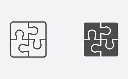 Puzzle icon vector, filled flat sign, solid pictogram isolated on white. Symbol, logo illustration.
