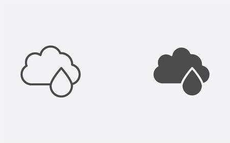 Rainy weather icon vector, filled flat sign, solid pictogram isolated on white. Symbol, logo illustration.
