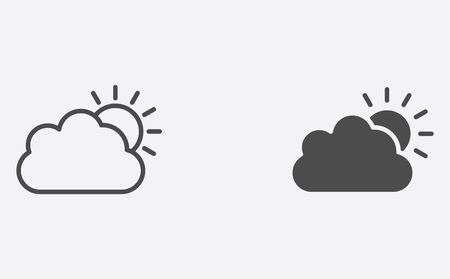 Sun and cloud icon vector, filled flat sign, solid pictogram isolated on white. Symbol, logo illustration.
