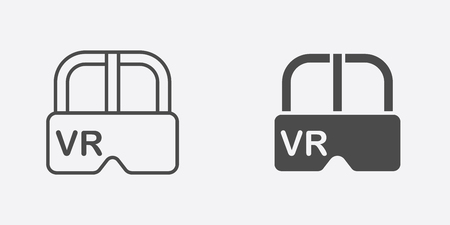 Virtual reality icon, filled flat sign, solid pictogram isolated on white.
