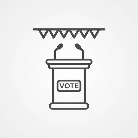 Voting tribune icon vector, filled flat sign, solid pictogram isolated on white. Symbol, logo illustration.