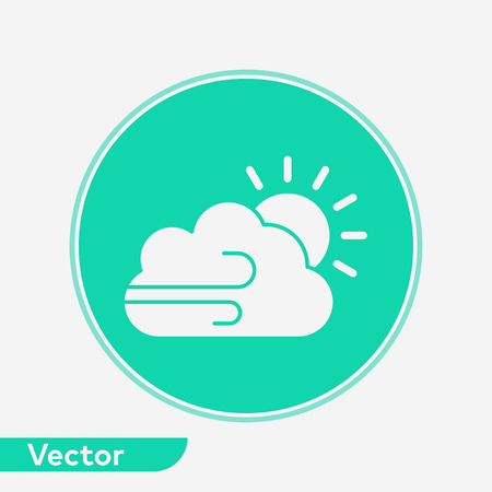Windy icon vector, filled flat sign, solid pictogram isolated on white. Symbol, logo illustration.