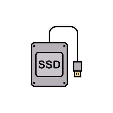 SSD icon vector, filled flat sign, solid pictogram isolated on white. Symbol, logo illustration.