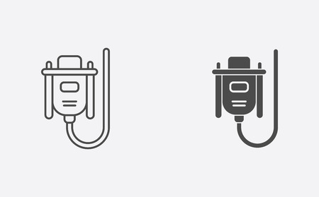 VGA cable icon vector, filled flat sign, solid pictogram isolated on white. Symbol, logo illustration. Illustration