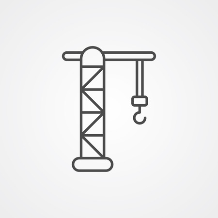 Tower crane icon vector, filled flat sign, solid pictogram isolated on white. Symbol, logo illustration.