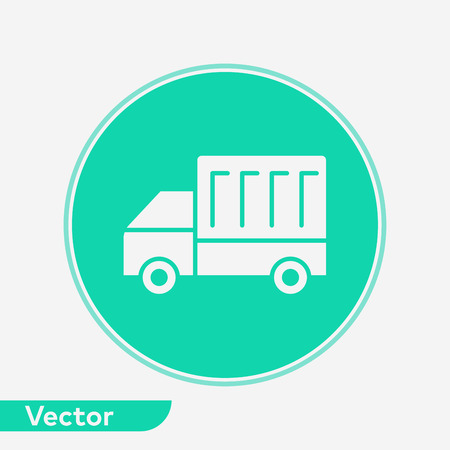 Truck icon vector, filled flat sign, solid pictogram isolated on white. Symbol, logo illustration.