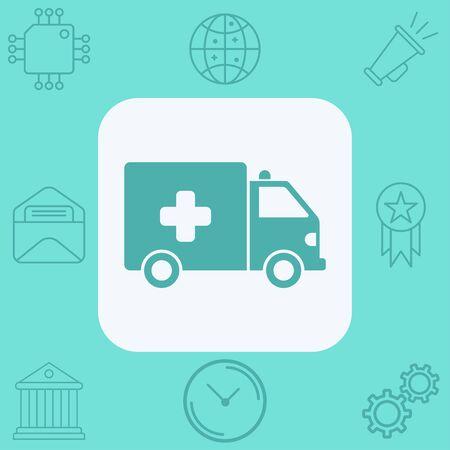 Ambulance icon vector, filled flat sign, solid pictogram isolated on white. Symbol, logo illustration. Stock Illustratie