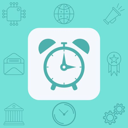 Alarm clock icon vector, filled flat sign, solid pictogram isolated on white. Symbol, logo illustration.