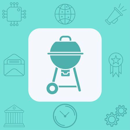 Barbecue icon vector, filled flat sign, solid pictogram isolated on white. Symbol, logo illustration. Ilustração