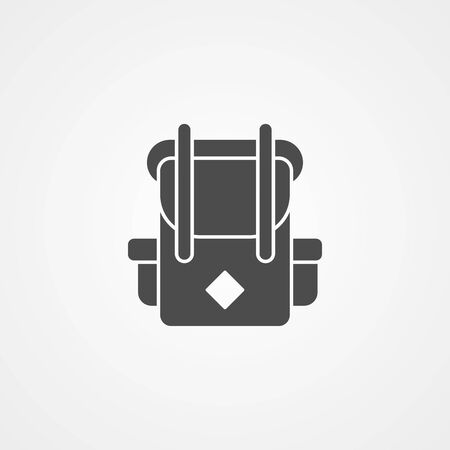 Camping backpack icon vector, filled flat sign, solid pictogram isolated on white. Symbol, logo illustration.