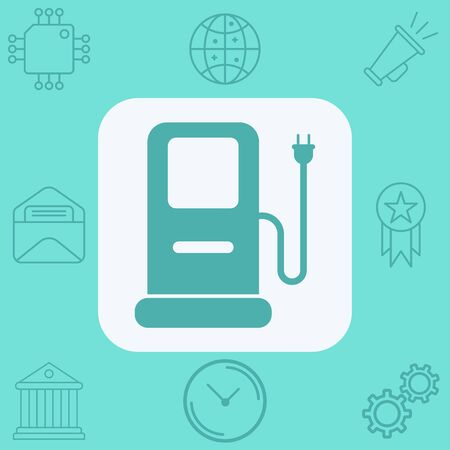 car charging station icon vector, filled flat sign, solid pictogram isolated on white. Symbol, logo illustration.