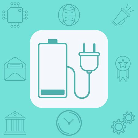 Charging battery icon vector, filled flat sign, solid pictogram isolated on white. Symbol, logo illustration.