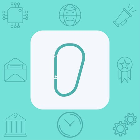 Carabiner icon vector, filled flat sign, solid pictogram isolated on white. Symbol, logo illustration. Illustration