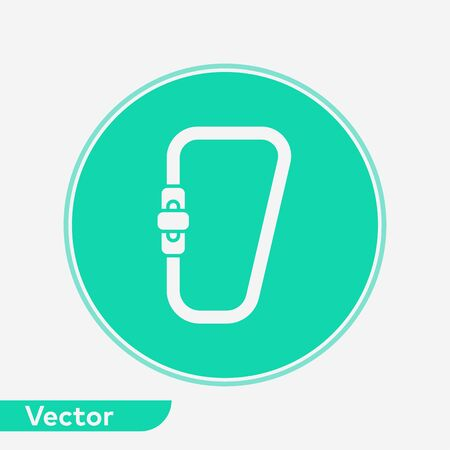 Carabiner icon vector, filled flat sign, solid pictogram isolated on white. Symbol, logo illustration. Vettoriali