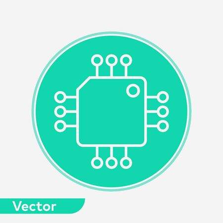 Computer chip icon vector, filled flat sign, solid pictogram isolated on white. Symbol, logo illustration.