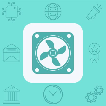 Cpu fan icon vector, filled flat sign, solid pictogram isolated on white. Symbol, logo illustration. Archivio Fotografico - 129608336