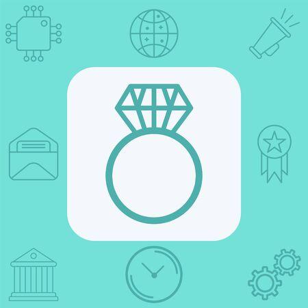 Diamond ring icon vector, filled flat sign, solid pictogram isolated on white. Symbol, logo illustration. Standard-Bild - 129389195