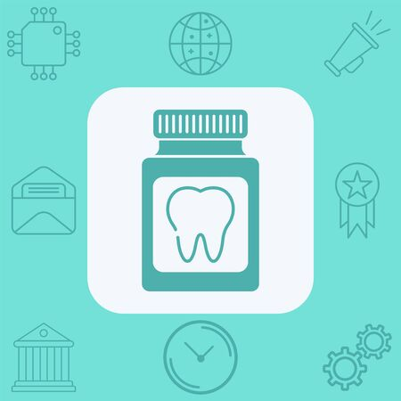 Dental pill icon vector, filled flat sign, solid pictogram isolated on white. Symbol, logo illustration.