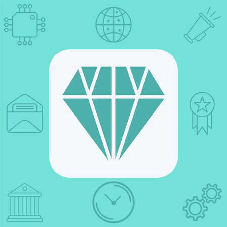 Diamond icon vector, filled flat sign, solid pictogram isolated on white. Symbol, logo illustration.