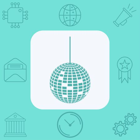 Disco ball icon vector, filled flat sign, solid pictogram isolated on white. Symbol, logo illustration.