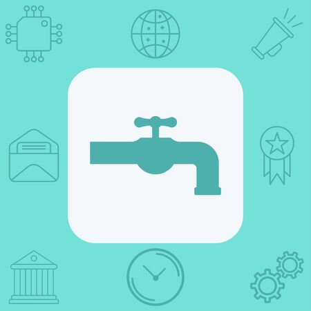 Faucet icon vector, filled flat sign, solid pictogram isolated on white. Symbol, logo illustration.