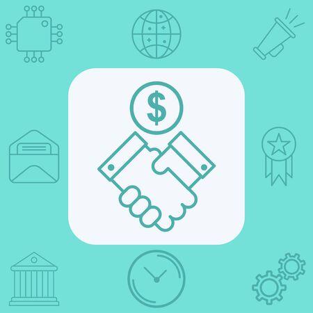 Financial agreement icon vector, filled flat sign, solid pictogram isolated on white. Symbol, logo illustration. Ilustração
