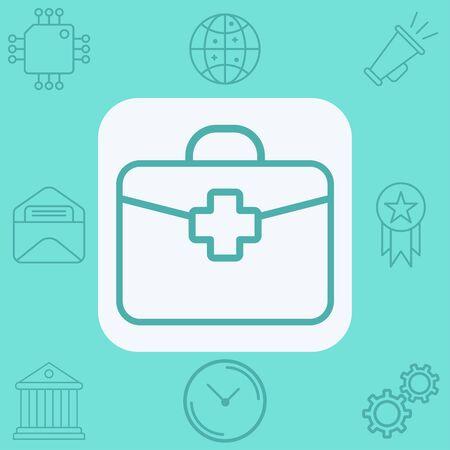 First aid kit icon vector, filled flat sign, solid pictogram isolated on white. Symbol, logo illustration. Ilustração