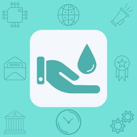 Hand with water icon vector, filled flat sign, solid pictogram isolated on white. Symbol, logo illustration.