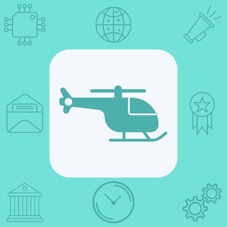 Helicopter icon vector, filled flat sign, solid pictogram isolated on white. Symbol, logo illustration.