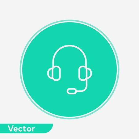 Headset icon vector, filled flat sign, solid pictogram isolated on white. Symbol, logo illustration.