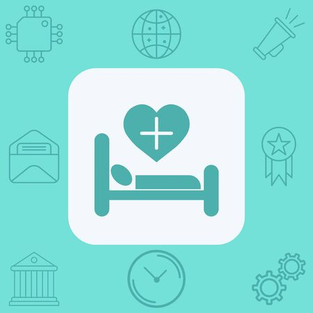 Hospital bed icon vector, filled flat sign, solid pictogram isolated on white. Symbol, logo illustration.