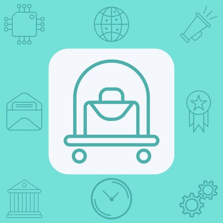 Hotel trolley icon vector, filled flat sign, solid pictogram isolated on white. Symbol, logo illustration.  イラスト・ベクター素材