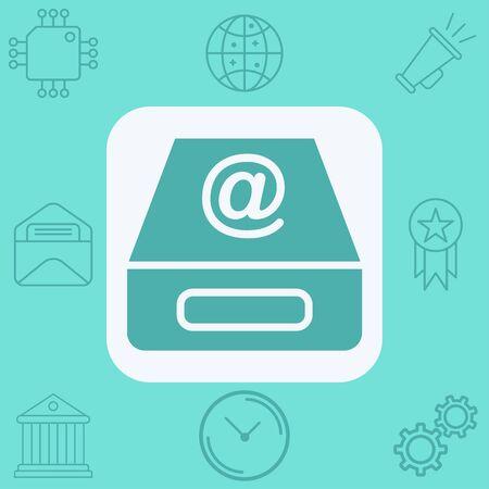 Inbox icon vector, filled flat sign, solid pictogram isolated on white. Symbol, logo illustration. Çizim