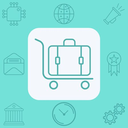 Luggage trolley icon vector, filled flat sign, solid pictogram isolated on white. Symbol, logo illustration. Stock Illustratie